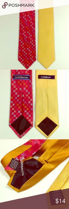 Two pack Croft & Barrow men's ties Like New pre-owned condition. Silky watermelon red with starbursts of aqua, sage, periwinkle and gold in 100% silk. Yellow has basket weave texture 57% polyester and 43% silk. Beautiful sheen on both. Shipped with care from a smoke-free home. croft & barrow Accessories Ties