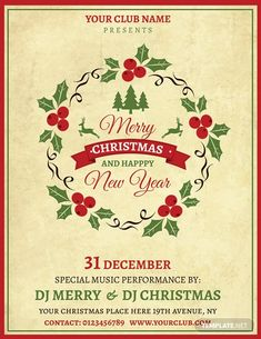 FREE Simple Christmas Invitation Template - Word (DOC)   PSD   Apple (MAC) Pages   Publisher