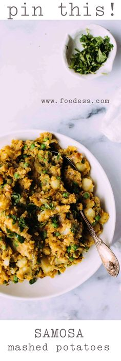 Indian potatoes and peas that taste exactly like the filling of a vegetarian samosa. Chunky or mashed, they're an excellent Indian side dish.