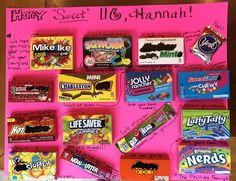 Sweet 16 candy card on poster board!