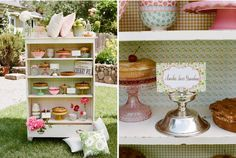 Vintage Cake stands: Gorgeous cupboard full of gorgeous cakes on stands.