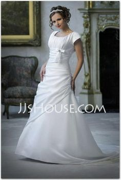 Wedding Dresses - $181.99 - A-Line/Princess Square Neckline Chapel Train Taffeta Wedding Dresses With Ruffle (002001626) http://jjshouse.com/A-line-Princess-Square-Neckline-Chapel-Train-Taffeta-Wedding-Dresses-With-Ruffle-002001626-g1626