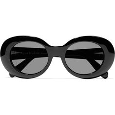 Acne Studios Mustang oval-frame acetate sunglasses ($330) ❤ liked on Polyvore featuring accessories, eyewear, sunglasses, glasses, black, acetate glasses, oval sunglasses, uv protection glasses, beach sunglasses and oval glasses
