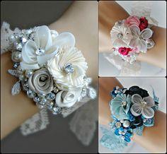 Vintage Style Bridal Cuff Wrist Corsage Bracelet by TheRedMagnolia Wrist Flowers, Prom Flowers, Bridal Flowers, Bridesmaid Corsage, Corsage Wedding, Prom Corsage, Wrist Corsage Bracelet, Button Holes Wedding, Bridal Cuff