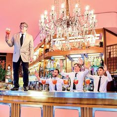 In the pink: we toast the enduring health of Milan institution Bar Basso. See more highlights from the latest Milan Design Week via link in bio. (: Pierpaolo Ferrari and @mauriziocattelan) #salonedelmobile #design #barbasso  via WALLPAPER MAGAZINE OFFICIAL INSTAGRAM - Fashion Design Architecture Interiors Art Travel Contemporary Lifestyle