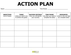 Simple Business Action Plan Template with Black Colored Table Layout : Helloalive