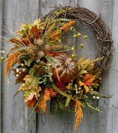 Fall Wreath Autumn Wreaths Woodland by NewEnglandWreath on Etsy