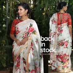 Blouse Back Neck Designs, Blouse Neck Patterns, Blouse Designs, Saree Jackets, Floral Print Sarees, Kalamkari Saree, Simple Sarees, Saree Trends, Casual Saree