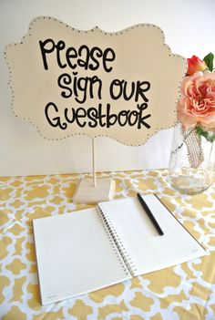 Wedding Guestbook Table Sign - guestbook table - unique guestbook ideas - guestbooks - guest book. $26.95, via Etsy.