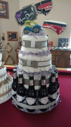 """Baby is Brewing"" Beer & Diaper Cake"