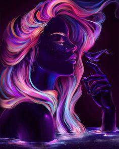 art oscuro Blacklight babe Digital Painting C - art Cartoon Kunst, Cartoon Art, Psychedelic Art, Art Magique, Art Noir, Neon Girl, L'art Du Portrait, African Art Paintings, Arte Obscura