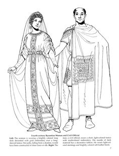 Byzantine Fashion coloring book by Tom Tierney - mix - Picasa Web Albums Ancient Rome, Ancient Greece, Ancient History, Historical Costume, Historical Clothing, Empire Romain, Byzantine Art, Early Christian, Medieval Fantasy