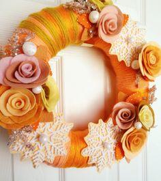 Sugar Pumpkin Cookie for Winter - Felt and Yarn Wreath - The Original Felt Yarn Wreath - Door Decoration in Peach, Tangerine and Mustard. $65.00, via Etsy.