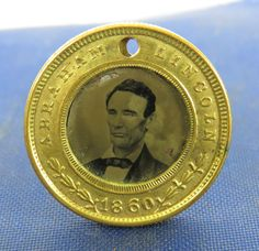One of several variations of 1860 Abraham Lincoln / Hannibal Hamlin Campaign Token / Coin Ferrotype. *s*