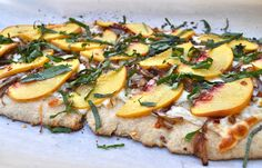 summer peach pizza with caramelized onions and fresh chopped basil!