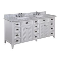 Kitchen Bath Collection Savannah Bathroom Vanity with Marble Countertop, Cabinet with Soft Close Function and Undermount Ceramic Sink, Carrara/White, Restoration Hardware Bathroom Vanity, 72 Bathroom Vanity, Vanity Decor, Bath Vanities, Sinks, Master Bathroom, Bathroom Ideas, 72 Inch Vanity, Vanity Set
