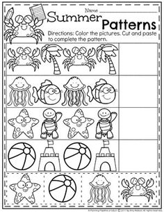 Summer Preschool Patterns Worksheet