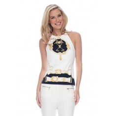 MARIA HALTER TOP IN HERALDIC BELT PRINT     A slim fitting top with a halter neckline has just enough detail to stand on its own, but it layers beautifully underneath your favorite cardigan, too.