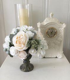 Floral home decor - shabby chic flowers - cottage chic decor - romantic wedding decor - shabby chic rose decor - silk flower arrangement by BsCozyCottageCrafts on Etsy
