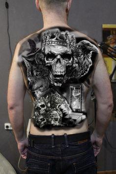 Pin by jonas radeck on tattoos Creepy Tattoos, Badass Tattoos, Skull Tattoos, Sexy Tattoos, Body Art Tattoos, Sleeve Tattoos, Full Back Tattoos, Back Tattoos For Guys, Define Tattoo