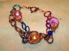 Aluminum and Copper Chain Bracelet by Justatishdesigns on Etsy, $18.00