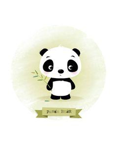 Nursery print panda print kids illustration by IreneGoughPrints