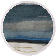 Winter Round Beach Towel featuring the painting Winter Night by Vesna Antic