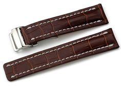 22mm Brown Alligator Grain Leather Watch Strap Band Steel Deployment Clasp
