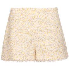 Giambattista Valli High-waisted tweed shorts (£690) ❤ liked on Polyvore featuring shorts, high rise shorts, high-waisted shorts, highwaist shorts, tweed shorts und metallic shorts