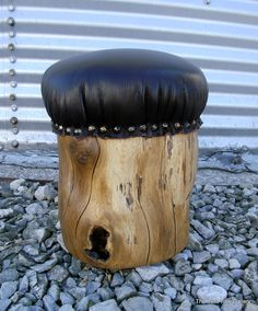 Padded Stump Stool Rustic Leather by TheBentTreeGallery on Etsy