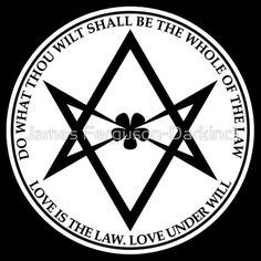 Aleister Crowley - DO WHAT THOU WILT SHALL BE THE WHOLE OF THE LAW - Occult - Thelema (White On Black)