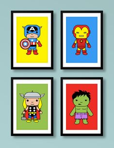Super Hero inspired wall art, super hero 4 print set , Captain America, Thor, Iron Man, Hulk, The Avengers, nursery print, nursery art