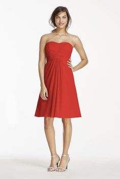 Short Chiffon Bridesmaid Dress with Pleated Bodice
