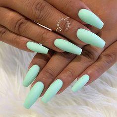 latest acrylic nail designs for summer 2019 page 12 - Summer Acrylic Nails Mint Nails, Aycrlic Nails, Cute Nails, Manicure, Mint Green Nails, Light Purple Nails, Pastel Nails, Nail Nail, Flag Nails
