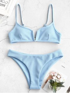ZAFUL Ribbed V Wired Cami Bikini Set - Light Sky Blue S Your bikinis- Glamour Best swimwear and bikinis to buy this year bikinis– 2019 Swimwear Summer Bathing Suits, Cute Bathing Suits, Cute Bikinis, Cute Swimsuits, Swimwear Fashion, Bikini Swimwear, Bikini Fashion, Zaful Bikinis, Bikini Outfits