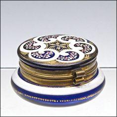 Antique Cobalt Blue Enameled Dresser Box  - Patch Box - Powder Jar - Casket  found on Ruby Lane