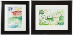 "Lot 225: Mey-Mey Lim (American, b.1972) ""Adams Street Bridge"" and ""Bike Path Bridge"" Watercolors; 2011, signed lower right"