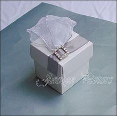 Elegant White Silver Rhinestone Buckle, Wedding, Bridal Shower Favor Box