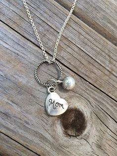 Pearl Mom Necklace Charm Necklace Heart Necklace Necklace
