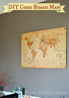 DIY Cork Board Map tutorial www.whatsurhomestory.com