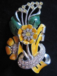 Vintage Large Coro Enamel and Rhinestone Floral Fur Clip