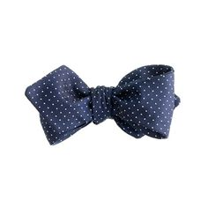Pindot silk bow tie in navy/