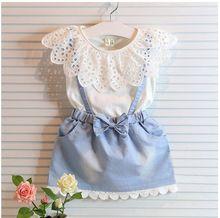 2015 meninas do bebê moda verão vestido de renda denim gola de renda branca com strap vestido de princesa vestido Real photo 2-8Ys(China (Mainland))