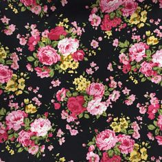 Floral Cotton Fabric beatiful flower on black background