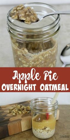 This Apple Pie Overnight Oatmeal recipe is an easy overnight oatmeal recipe that. - This Apple Pie Overnight Oatmeal recipe is an easy overnight oatmeal recipe that tastes like pie, bu - Breakfast On The Go, Make Ahead Breakfast, Breakfast Dishes, Healthy Breakfast Recipes, Healthy Breakfasts, Breakfast Smoothies, Breakfast Casserole, Overnight Breakfast, Healthy Recipes