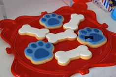 Paw PatrolParty details to LOVE…. ♥ Amazing Paw Patrol themed birthday cake with Marshall cake topper ♥ Paw Patrol paw shaped cookie pops ♥ Paw Patrol themed cake pops ♥ Fun party backdrop with clouds and Paw Patrol logo shield ♥ Navy, light blue and red ribbon bunting ♥ Such an adorable Paw Patrol themed …Read more...