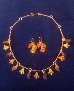 Autumn Fairy Necklace & Earrings Set w/ Clip On Option by CarasCreationsUK, £9.00
