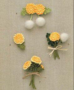 flores amarelas de crochet com gráfico