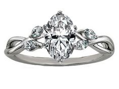 Engagement Ring - Oval Diamond Engagement Ring Floral Marquise Vine in 14K White Gold - ES1102OVWG
