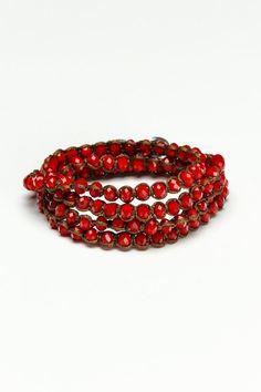 King ICE Red Bead Triple Wrap Bracelet